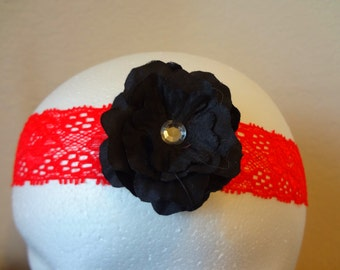 Headband, baby headband, infant headband, newborn headband, lace headband, black and red headband