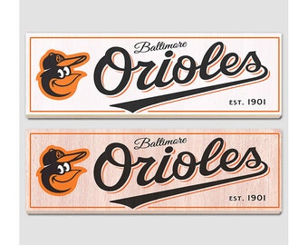 "Baltimore Orioles Wood sign - 7"" x 22"" - Orioles fan wall hanging - Boys room Man cave Sports Bar decor - Fathers Day gift for Dad"