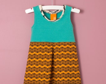 SALE! Girls Dress in Green & Orange Organic Cotton with Pleat, Summer Dress, Tank Dress sizes 1, 2t, 3t, 4, 5, 6, 7, 8, Double Dutch Dress