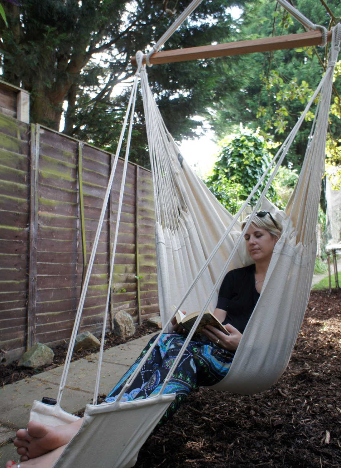 Cotton Hanging Hammock Chair with Footrest