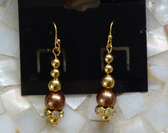 Gold and brown pearl earrings