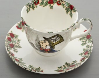 Alice In Wonderland Bone China Tea Cup & Saucer