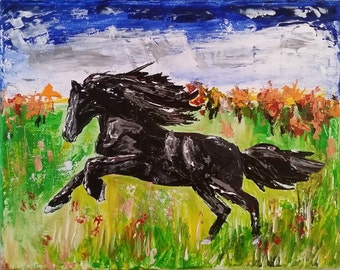 Black Beauty Horse Original Acrylic Painting 8 x 10 Ready For Your Frame