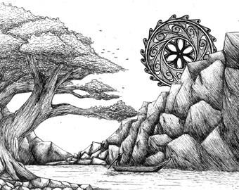 Landscape Ink Art. Original drawing, Ink illustration, A4 Landscape drawing, Fine art print, Handmade art, Pen and ink art, Ink drawing