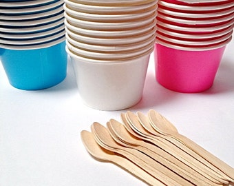 Ice Cream Cups, 25 Candy Paper Snack Cups, Large Fruit bowl  8 oz.  Wooden Spoon option.