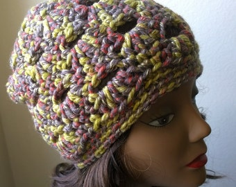 Crochet Multi-Colored Slouch Beanie