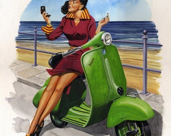 Margo, Vintage, Lambretta, Pinup, Scooter, Ltd Edition Print