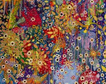 Dreamscape, acrylic on canvas 100 x 100 x 2 cm. Large original painting