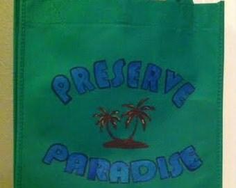 Reusable Bag - Preserve Paradise - RECYCLE REDUCE REUSE - Reusable Grocery Bag, Shopping Bag, Farmers Market Bag, Earth Day