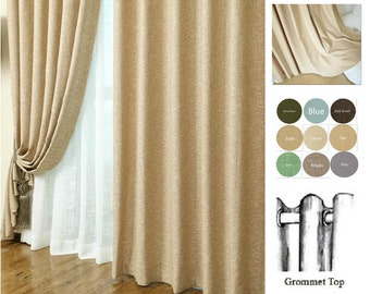 Linen curtains, custom curtains, window curtain panels, custom drapes, shabby chic curtains, 2 panels, curtain grommets, checkout video