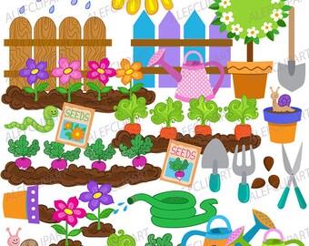 Growing Garden.Big Bundle. Digital Clipart. Instant Download.Creative Clips