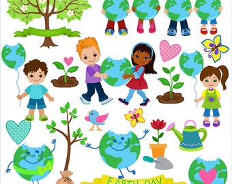 Clipart Earth Day. Digital Clipart. Creative Clips.