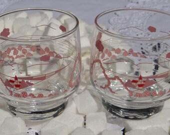 Set of Vintage Pink Arcopal Juice Glass Set