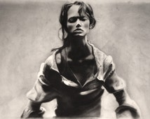Charcoal Drawing, Charcoal, Portrait, Black-White, Female, Illustration, Large-Scale Drawing, Framed Artwork - ArtLab Boston