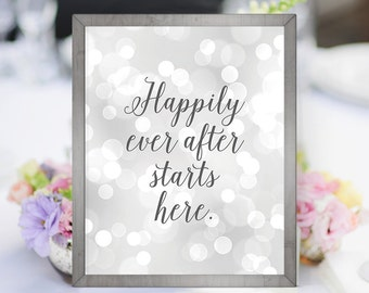 PRINTABLE Happily Ever After 8x10 Wedding Sign, Modern Bokeh Wedding Digital Print, Silver Wedding Decor, Instant Download