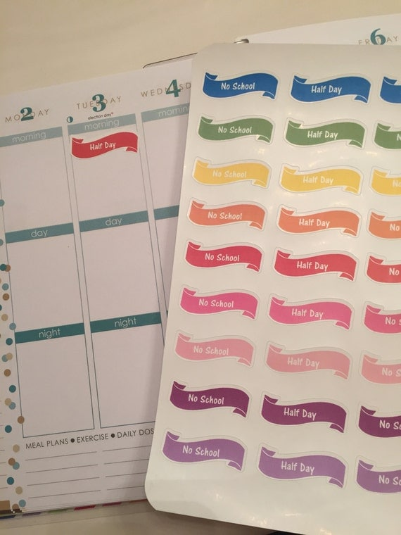 No School and Half Day Planner Stickers