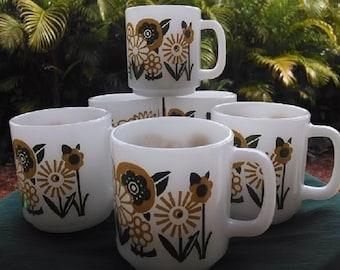 Vintage Glasbake Coffee Mugs With Floral Design, Retro Coffee Mugs Set of Six (6) Daisy/Sunflower Design