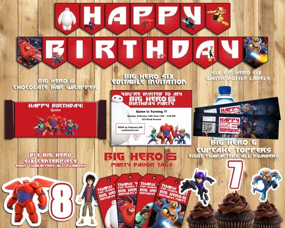 DIY Big Hero 6 Birthday Party Kit Download, Banner, Cupcake Toppers, Bottle Labels, Favor Tags, Centerpiece, Invitation, Candy Bar Wrapper!