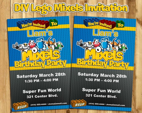 Lego Mixels Birthday Invitation - Lego Mixels Invitation - Download Edit Print Lego Mixels Birthday Invite Customizable Lego Invite
