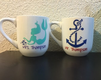 Mermaid and Anchor Mr & Mrs coffee cups