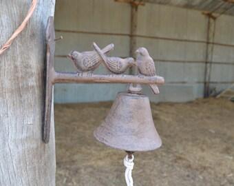 Hand Made Cast Iron Bird Door Bell Front Door Rustic Brown