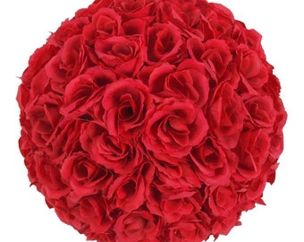 "10PCS 9.84""/25cm Super Satin Rose Flower Kissing Ball Wedding Party Decor"