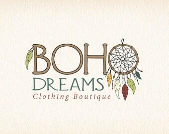 Dreamcatcher Logo | Boho Logo | Bohemian Logo | Feathers Logo | Native American Logo | Dream Catcher Logo | Logo Design | Premade Logo