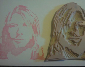 Kurt Cobain Hand Carved Rubber Stamp