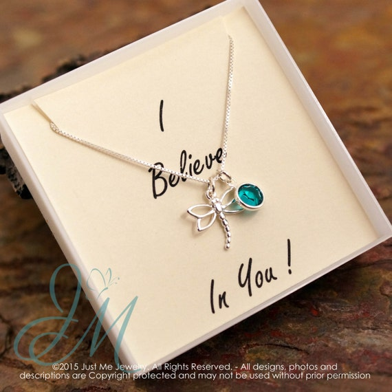 Encouragement Necklace - I believe in you - Sterling Silver dragonfly necklace with birthstone