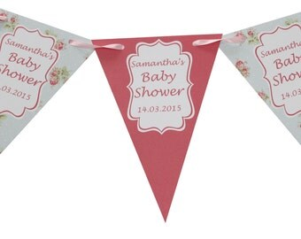 Personalised Baby Shower Bunting  Banner Party Decoration Shabby Chic Banner