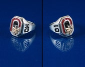 Ohio State Buckeye Block-O Ring in sterling silver, with 10K gold Buckeye leaf