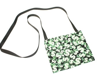Mini crossbody bag - Money fabric  perfect for travel or a night out!