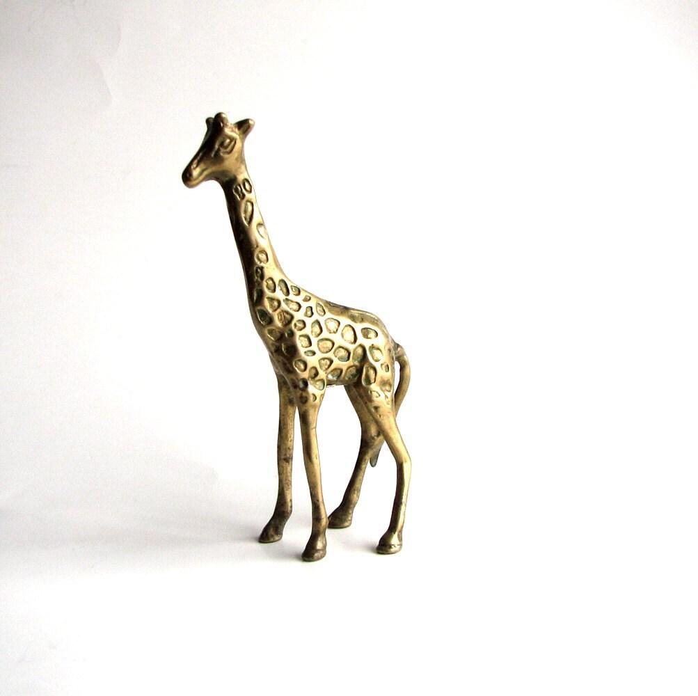 vintage brass giraffe statue . giraffe figurine . home by ...