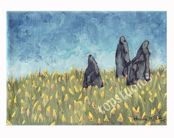 The Stones 8x10 Repro Print of Original Acrylic Painting Scotland Standing Stones in a field of yellow flowers