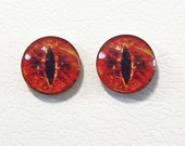 12mm Red Flames Flat Backed Glass Eyes - 1 pair - item #27D