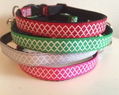 Quatrefoil Cat Collar Green Gray Red or Pink