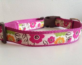 Colorful Flowers on Pink Nylon 1 inch Large Dog Collar