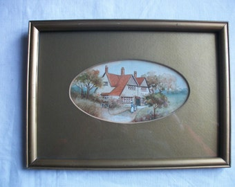 Watercolour Painting C1910 Arts & Crafts House Redroof Antique Vintage Picture Aquarelle