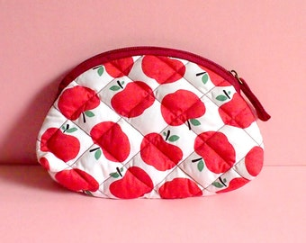 Zip Pouch - Pouch - Quilted Essentials Zip Pouch (Red Apples)