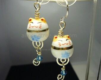 cute | dangle earrings | lucky cat | maneki neko | cat | id1220185 | wire wrapped | wire work | blue | beckoning cat | jewelry | flower
