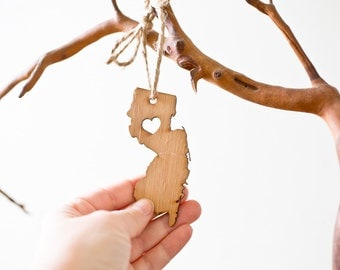 i heart New Jersey State Ornament - Bamboo New Jersey Ornament Wooden State Cutout Ornament NJ State Pendant With Heart Ornament Car Mirror
