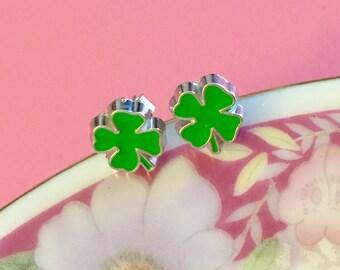 St Patrick's Day Earrings, Green Shamrock Earrings, Green Clover Earrings, Irish Green Leaf Earrings, Enameled Metal Earrings KreatedByKelly