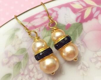 Pearl Wedding Earrings, Flower Girl Earrings, Pearl and Black Rhinestone Earrings, Bridesmaid Gift Earrings, Simple Earrings, KreatedByKelly