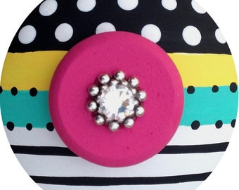 Black White Turquoise Yellow Hot Pink Stripes Polka Dots Jeweled Decorative Hand Painted Wood Dresser Furniture Kids Teen Drawer Knobs Pulls