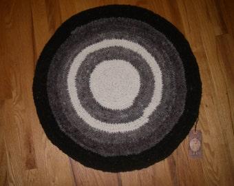 Handspun, Crocheted Round Wool Rug