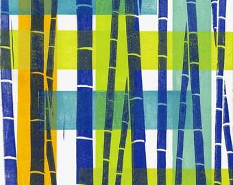 "LINOCUT PRINT - Bamboo Pattern 15 - Modern Abstract Print 6""x6"" - Ready to Ship"