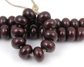 448 Dark Chestnut Brown Spacers - Handmade Lampwork Glass Beads - 5mmx9mm SRA (Set of 10 Spacer Beads)