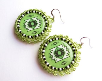 Native American Print Beaded Earrings Green