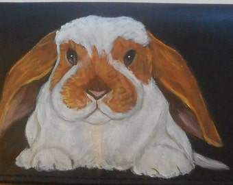 American Fuzzy Lop Rabbit Custom hand Painted Leather Checkbook Cover Checkbook Holder
