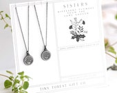 2 SISTERS: Big Sister Little Sister on Gift Card Different Flowers From the Same Garden Gift for Siblings. Pretty Necklace Set